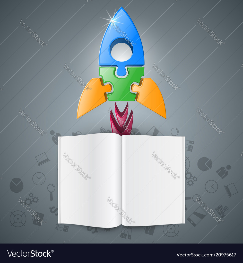 3d realistic rocket and book icon
