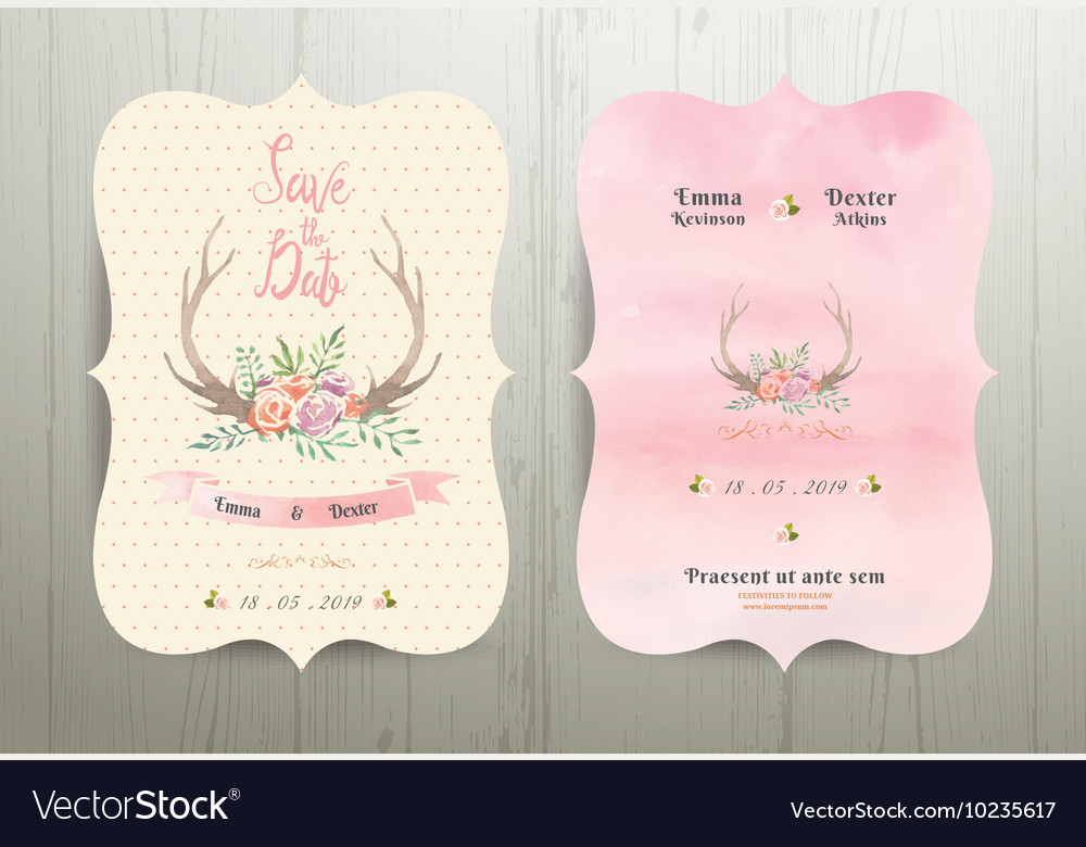 Antler flowers rustic wedding save the date