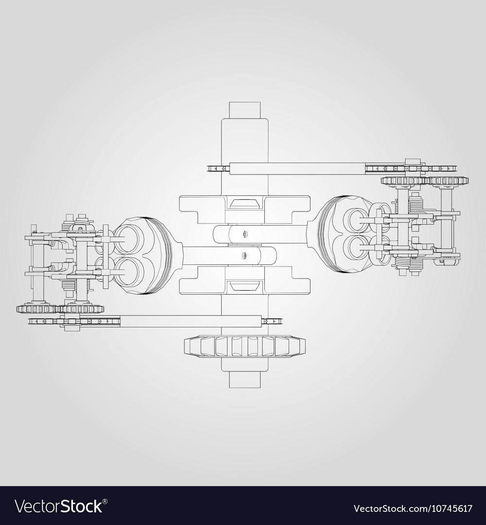 Engine Components In Disassembled State Royalty Free Vector Basic Diagram Image