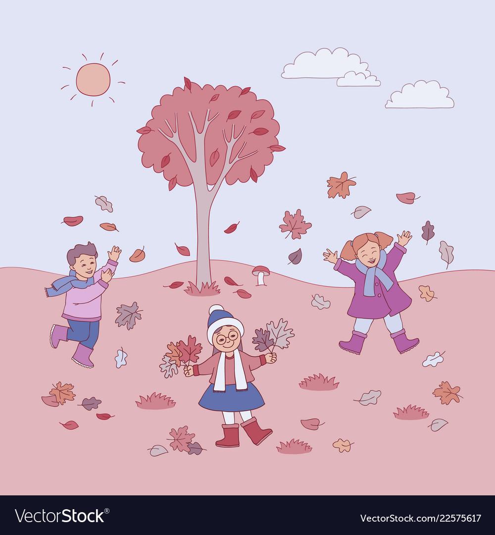 Flat girls boy autumn outdoors fun