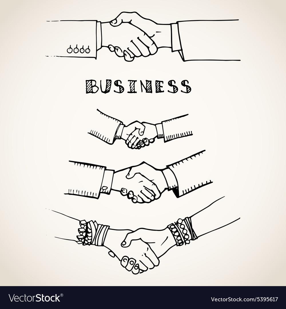 Handshake on white vector image