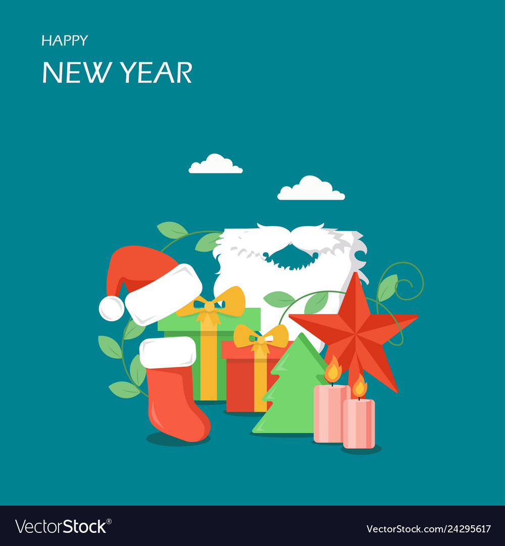 Happy new year flat style design