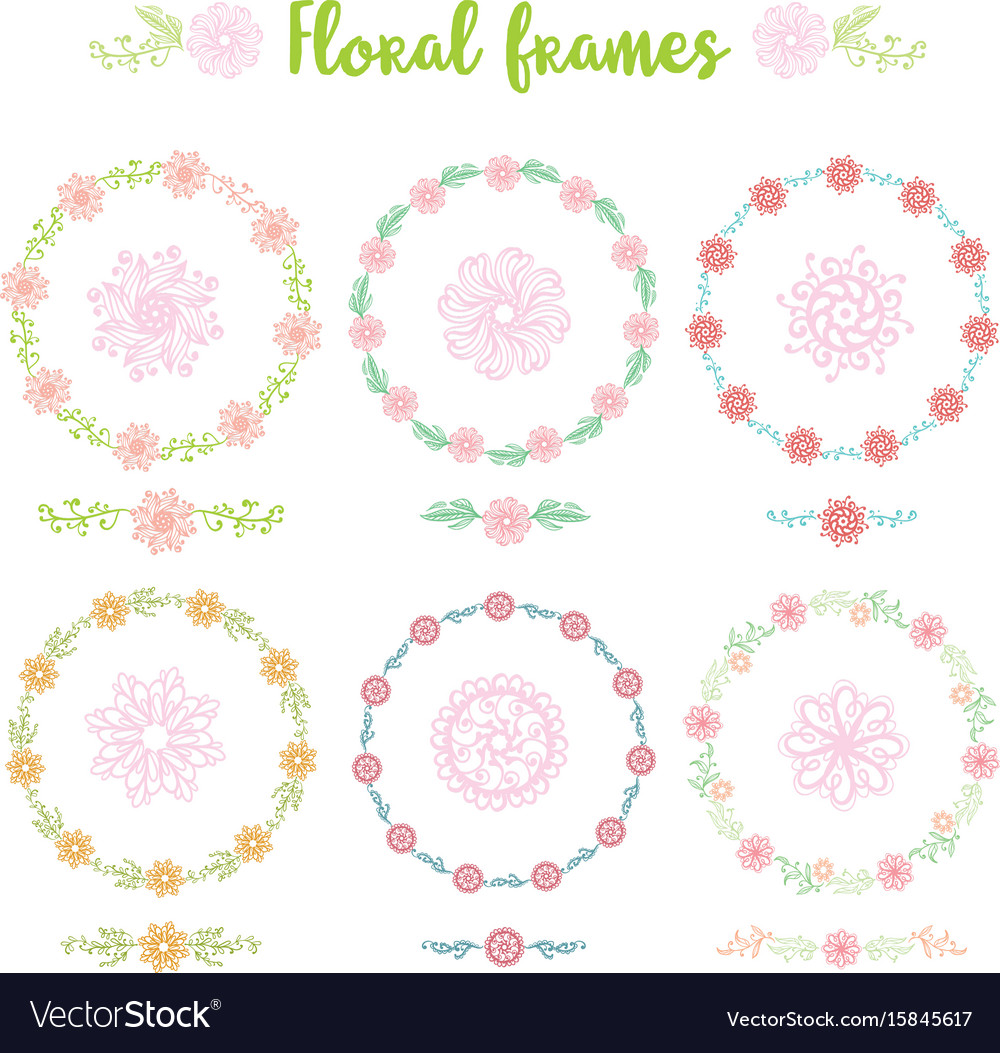 872edd9cfeb Set of hand drawn vintage frame flowers Royalty Free Vector