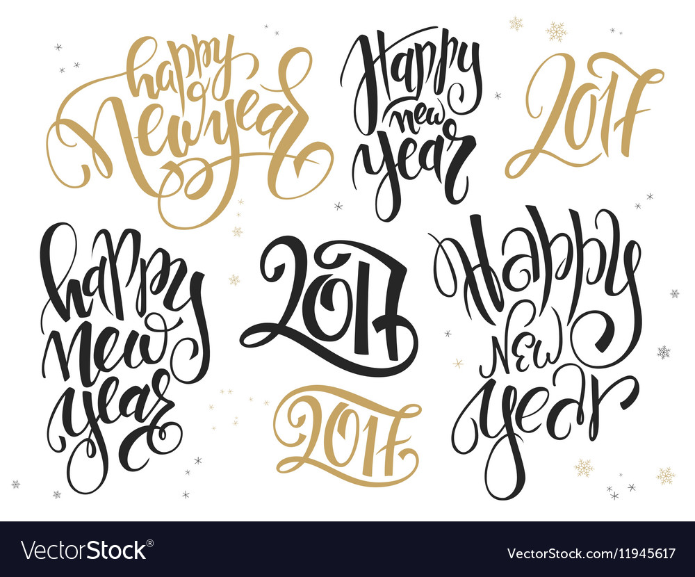 Set of hand lettering new year quotes Royalty Free Vector