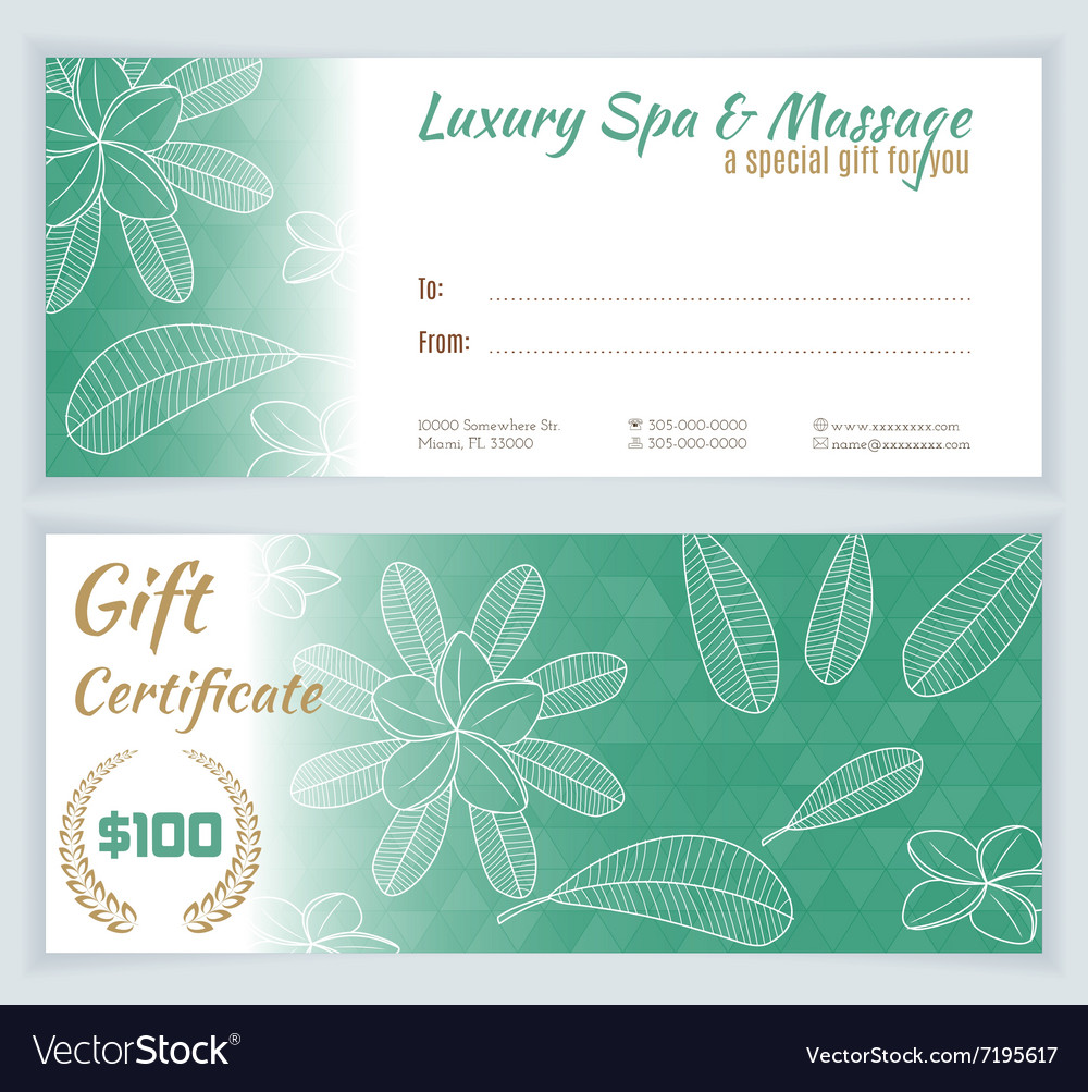 Spa Massage Gift Certificate Template Vector Image On Vectorstock