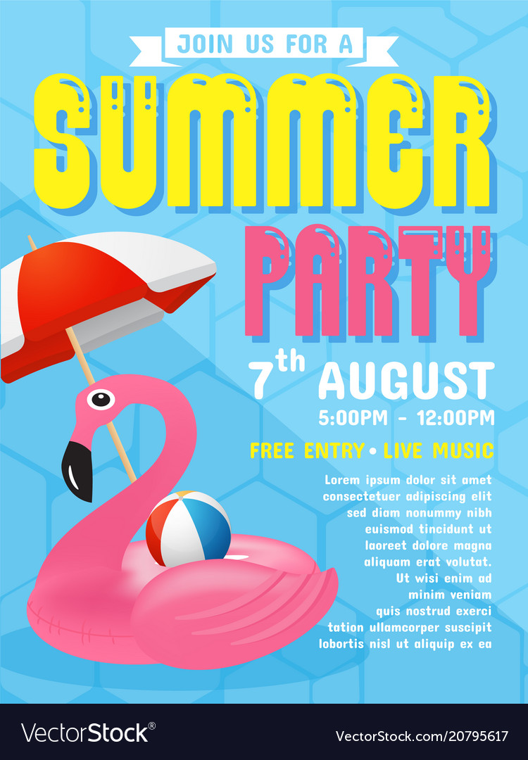 Summer party invitation flyer background template
