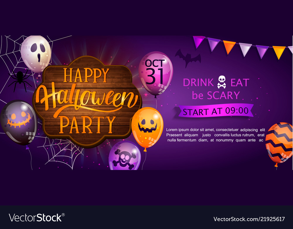 Welcome banner for happy halloween party