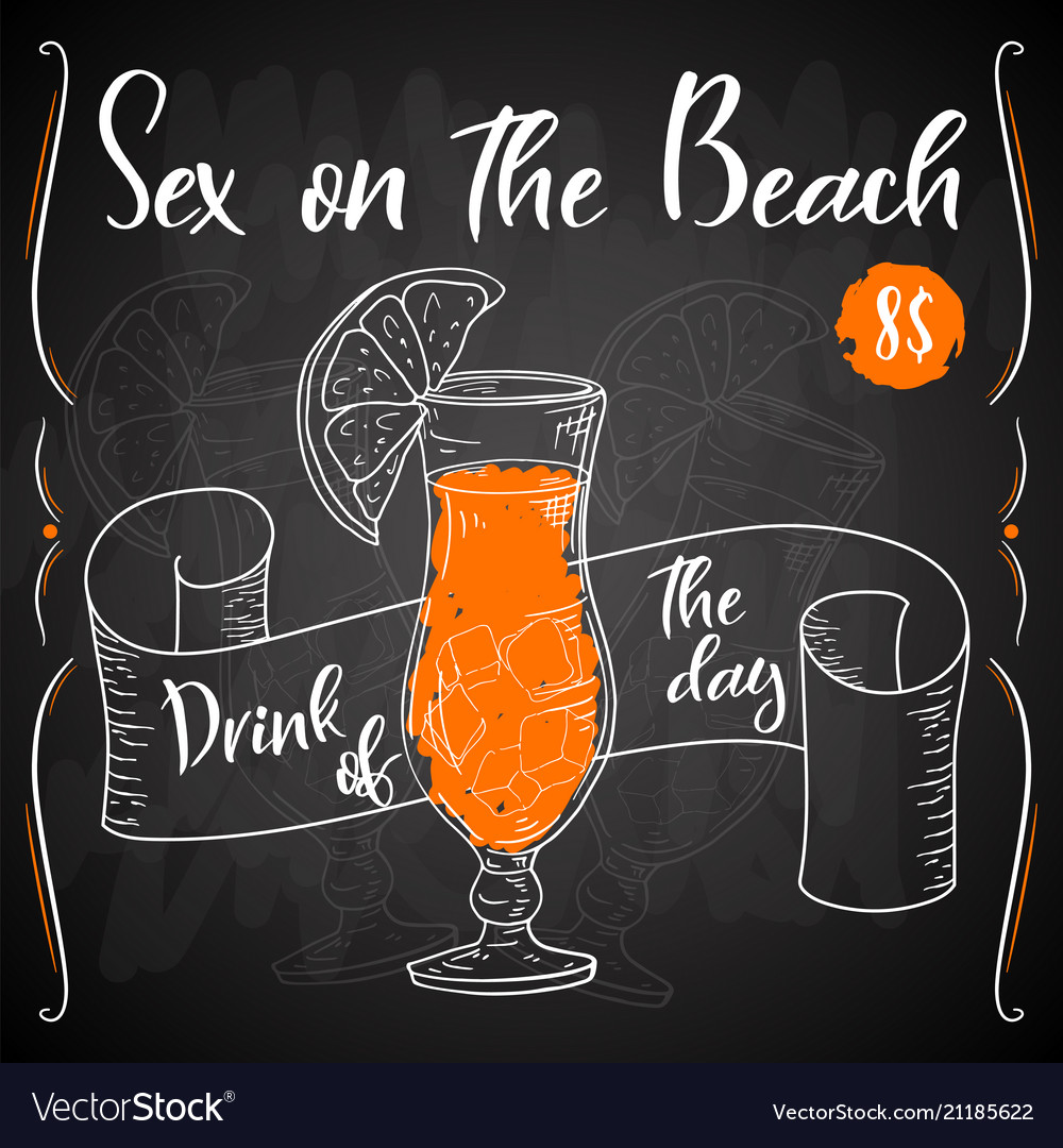 Alcoholc cocktail sex on the beach party summer Vector Image