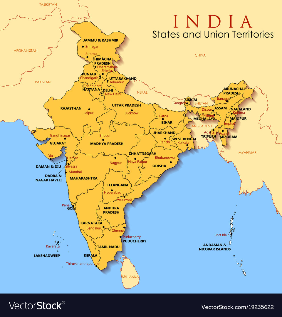 India Map With All States.Detailed Map Of India Asia With All States And Vector Image