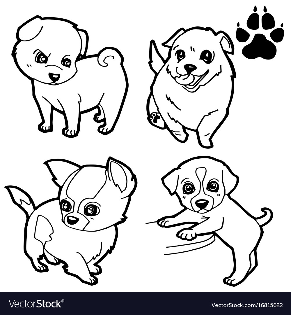 Dog Cartoon And Paw Print Coloring Book Vector Image