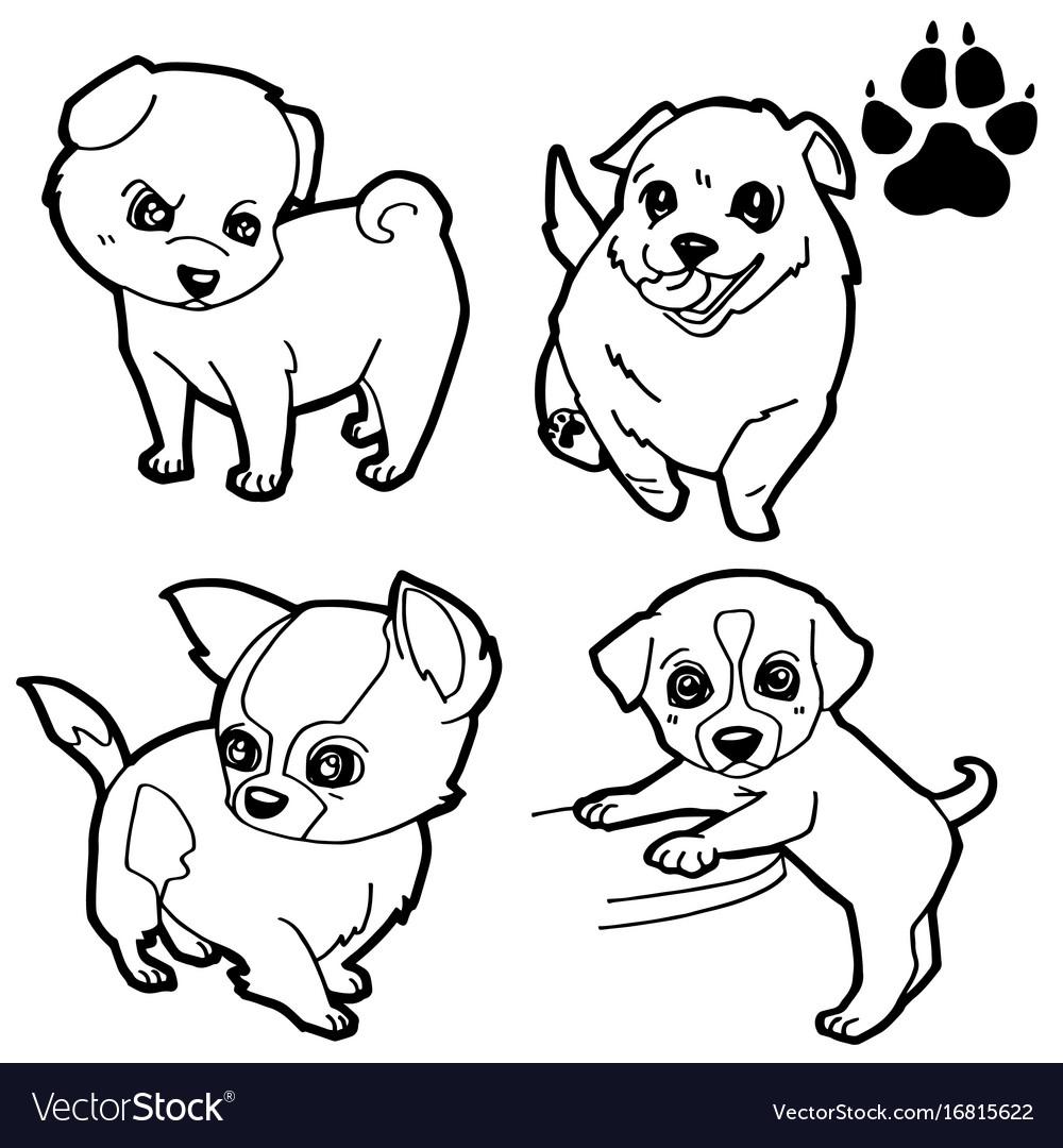 Dog cartoon and dog paw print coloring book Vector Image