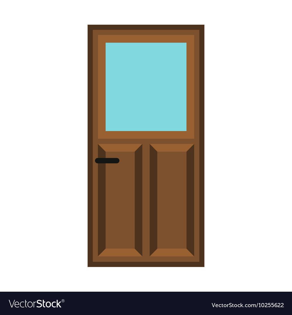 Interior apartment wooden door icon flat style