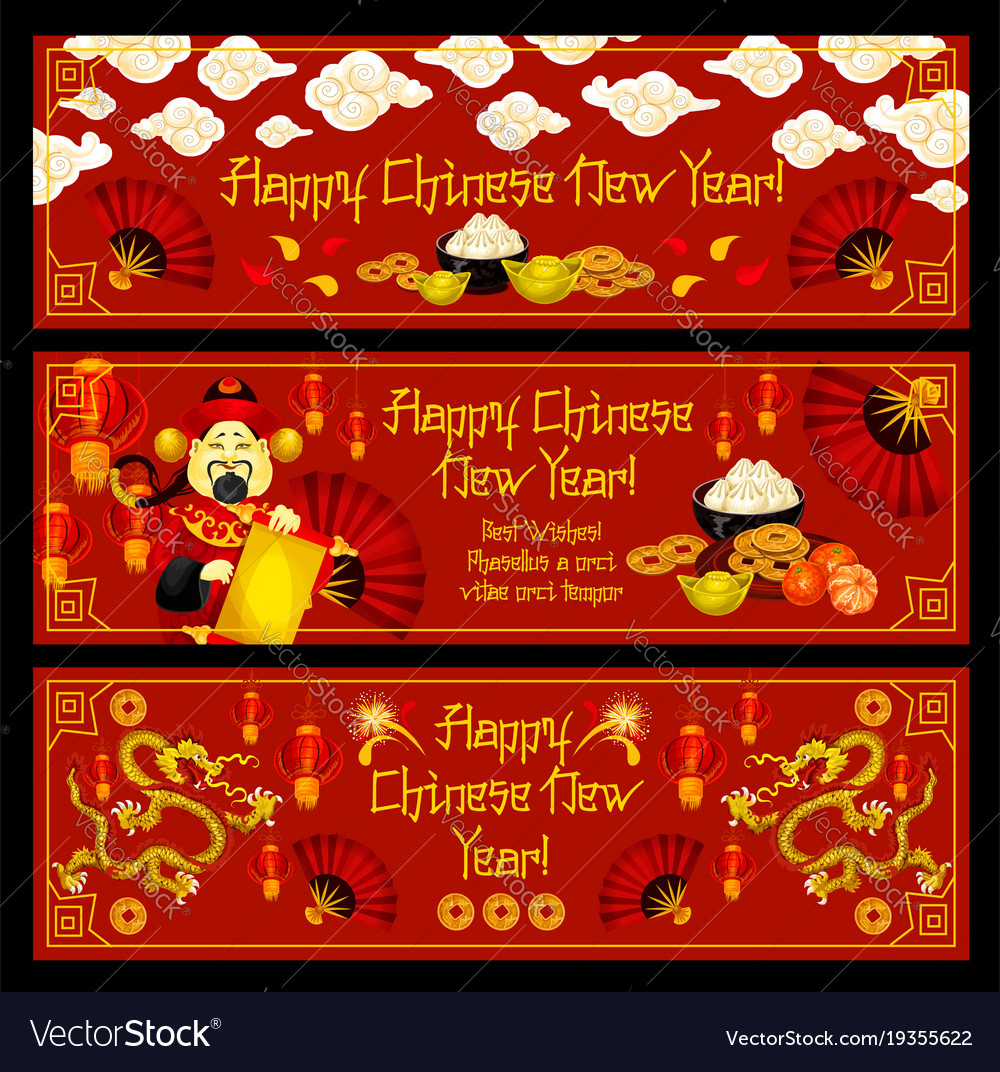 lunar new year banner of chinese spring festival vector image