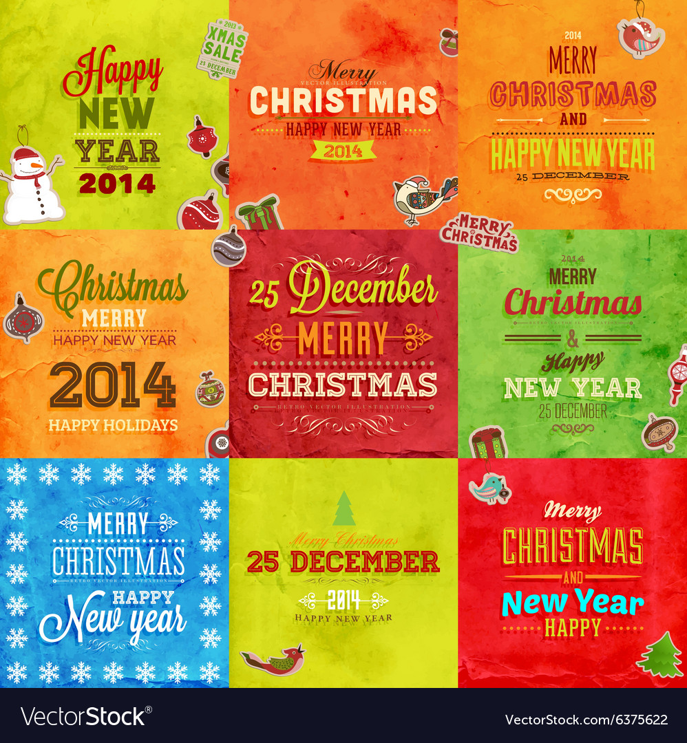 Retro Christmas Card Set vector image