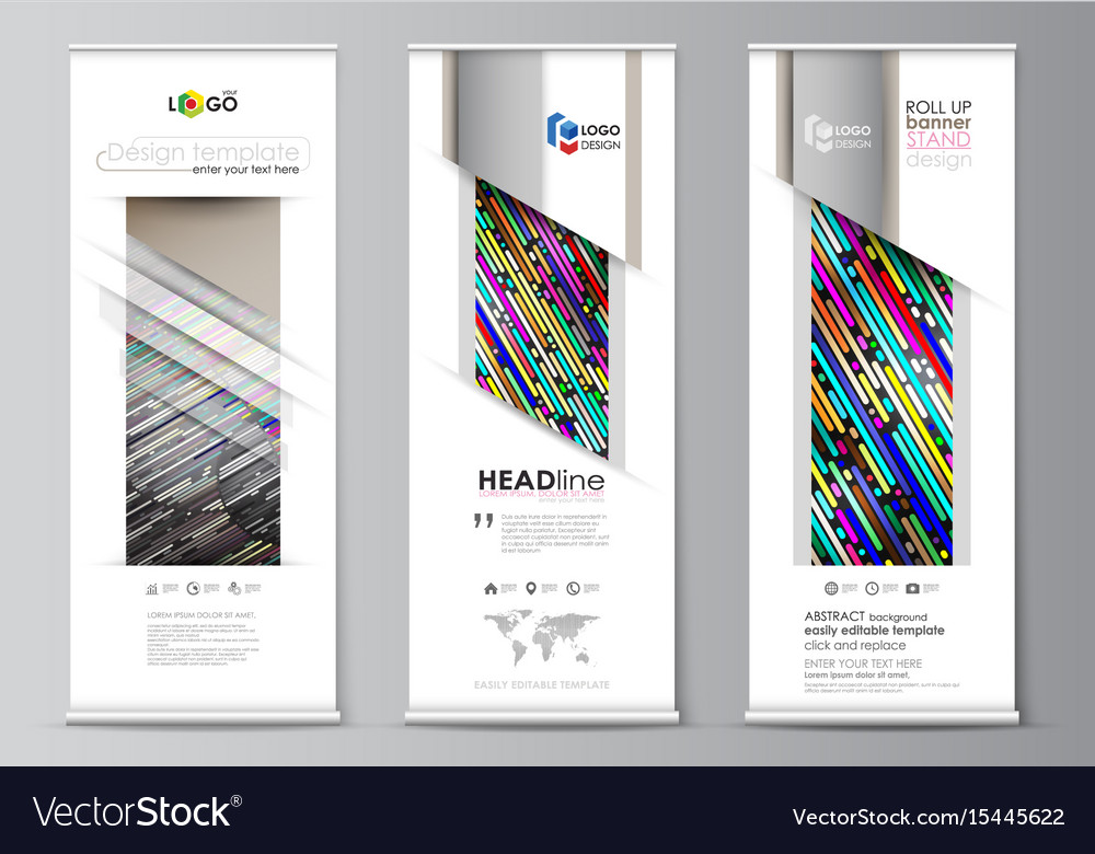 Roll up banner stand flat design templates Vector Image