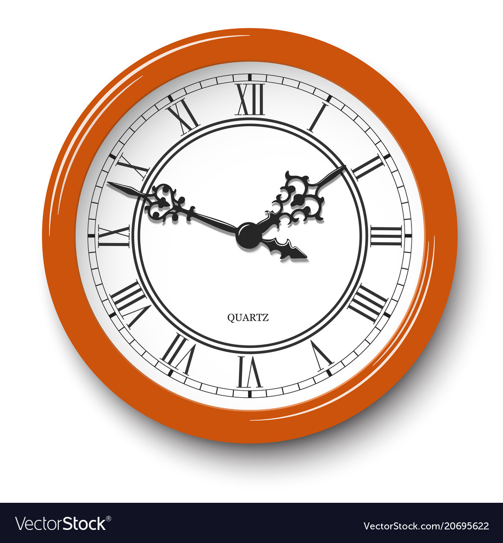 Roman numeral wall clock in orange glossy body