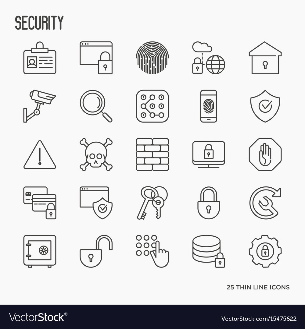 Security and protection thin line icons set