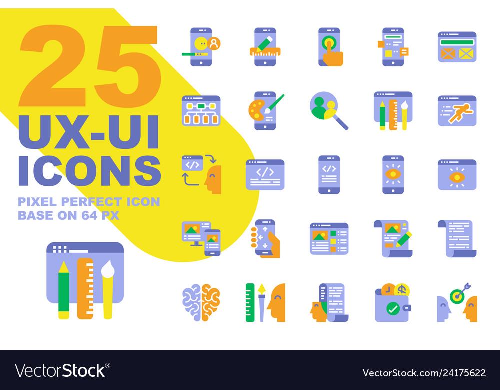 Ux ui application flat icons set base on 64px