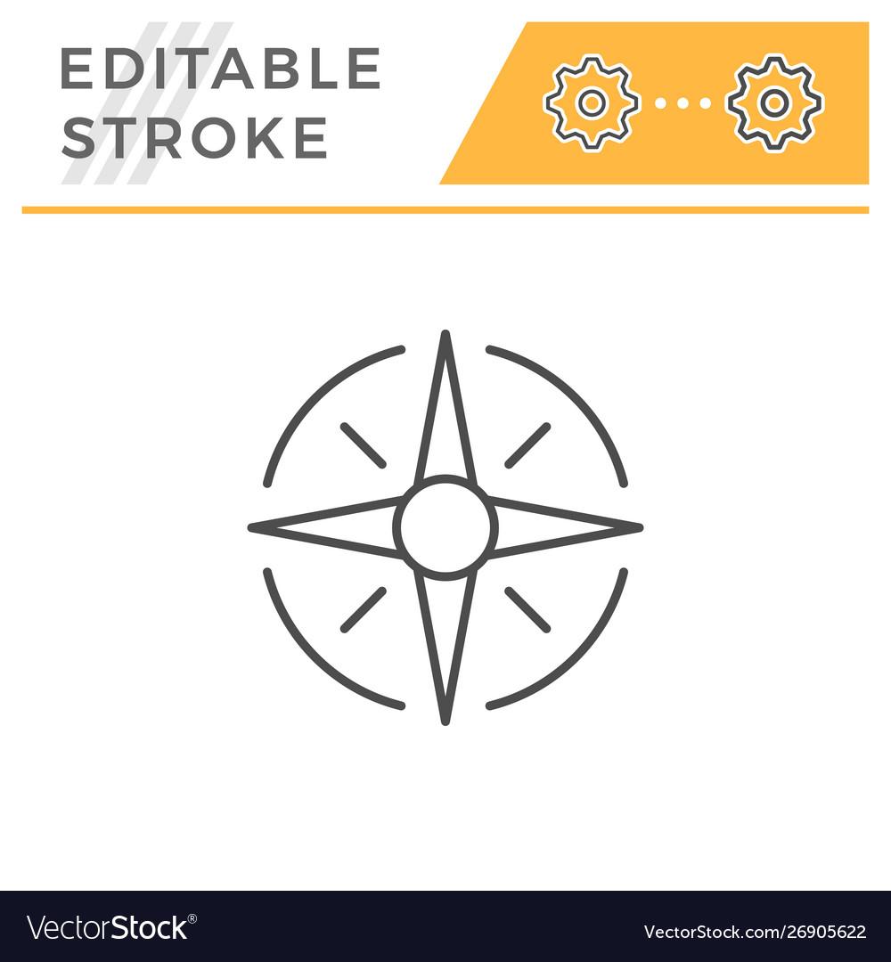 Wind rose editable stroke line icon