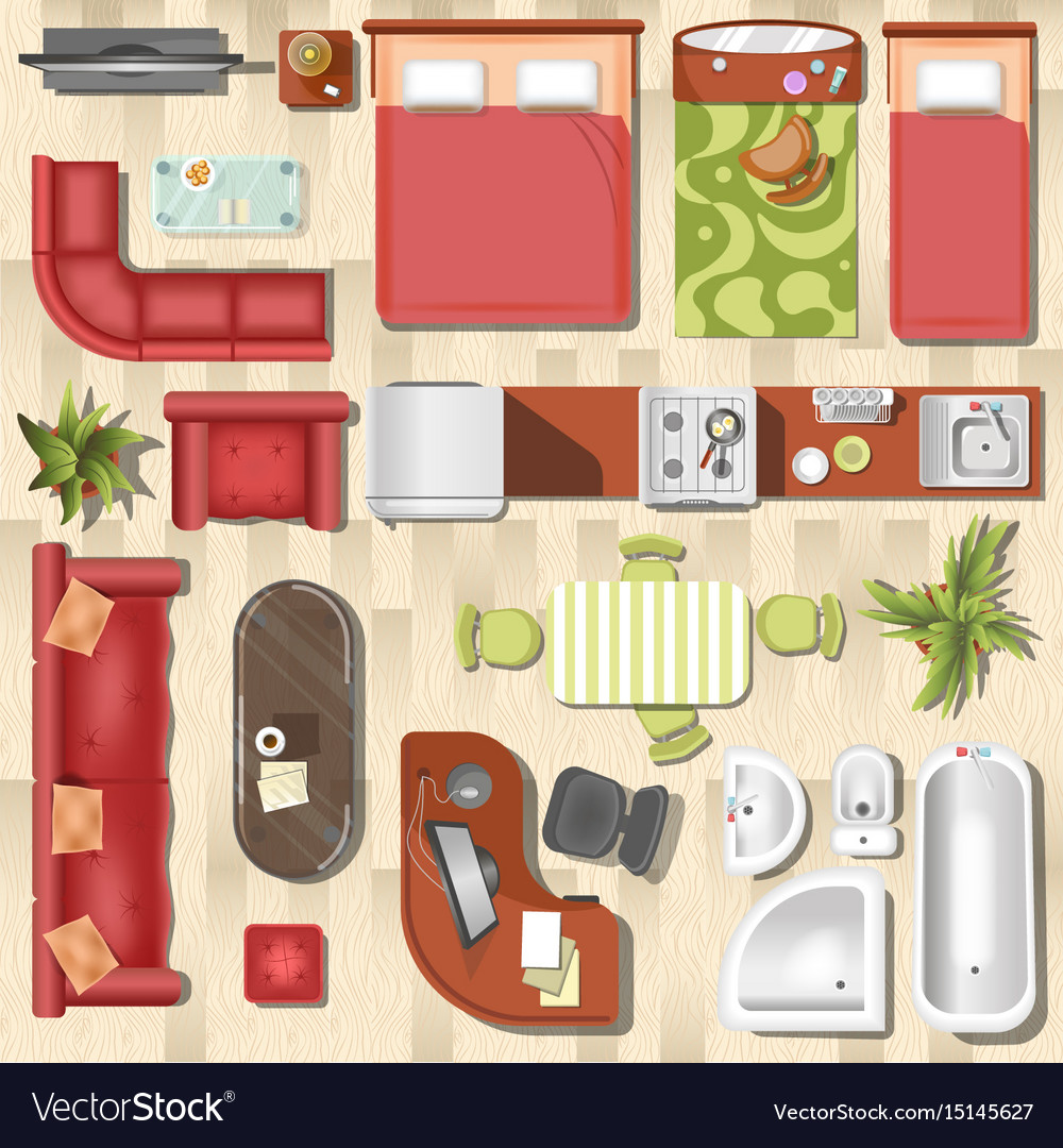 Apartment Flat Furniture Layout Top View