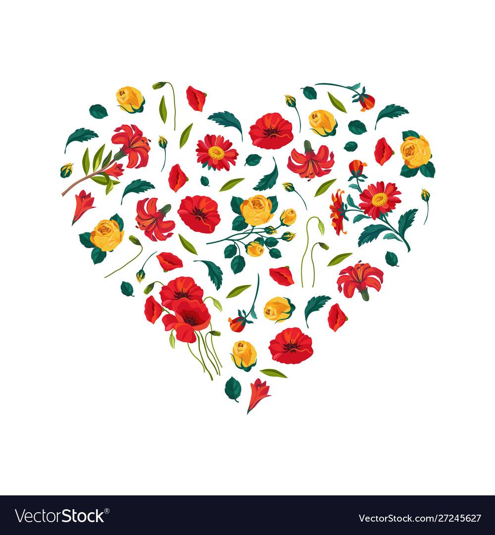 Bright heart made beautiful flowers decorative