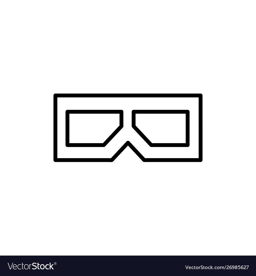 Flat line 3d glasses icon