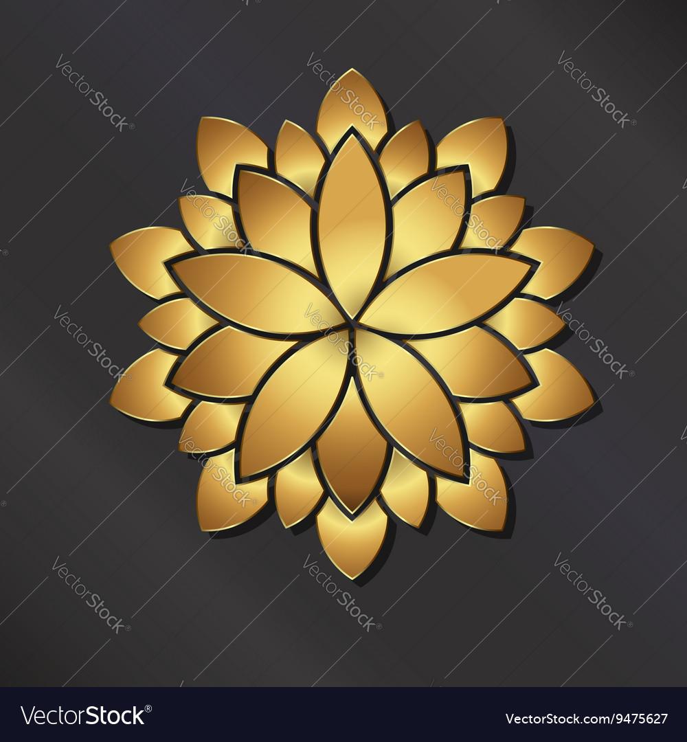 Flower golden mandala