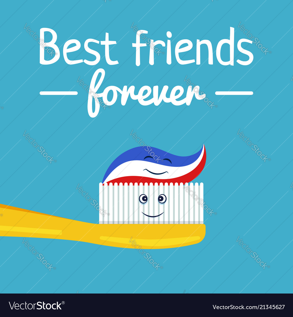 Funny toothpaste and toothbrush friends