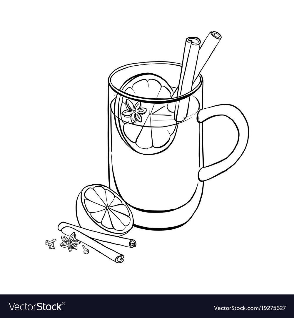 Hand drawn cup with mulled wine