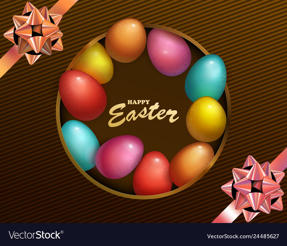 Happy easter holiday with colored egg dark box