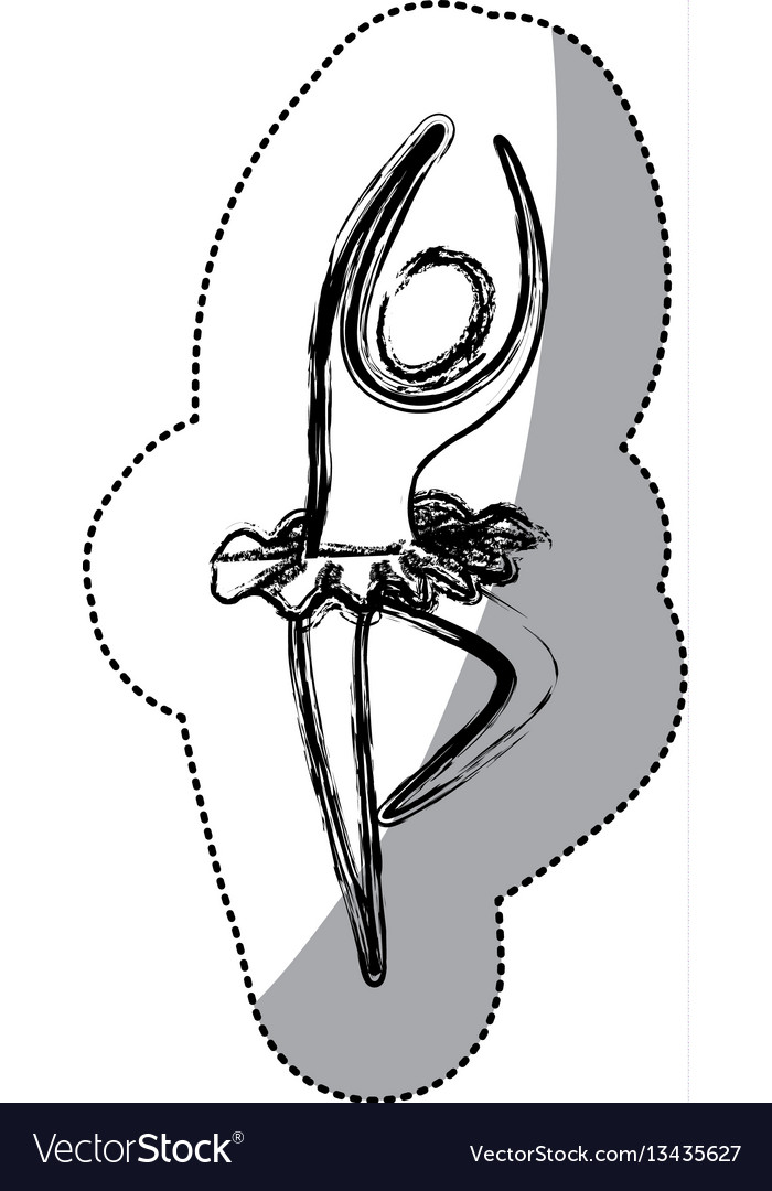 Silhouette woman practicing ballet icon