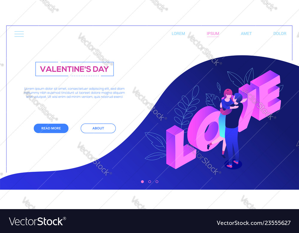 St valentines day - colorful isometric web