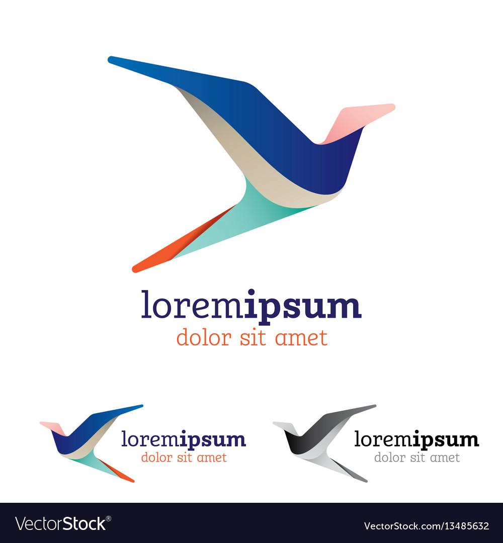 Abstract and stylized flying bird emblem