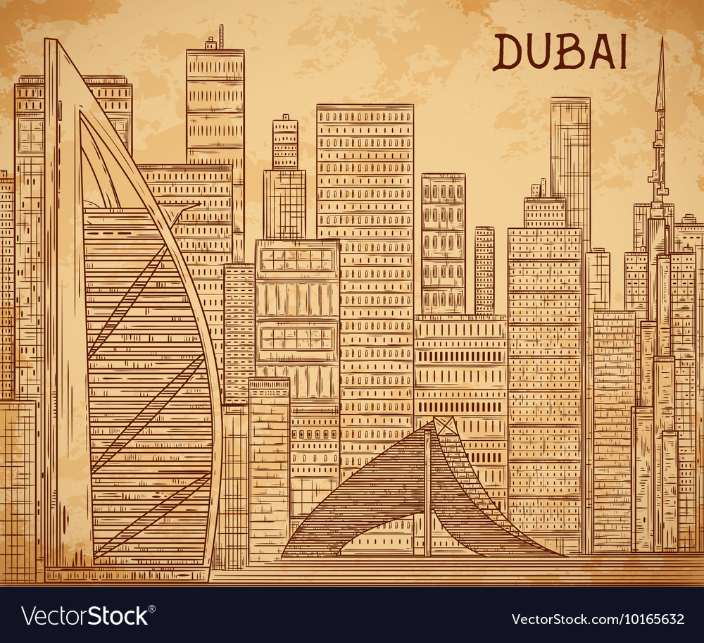 Dubai cityscape on aged paper background