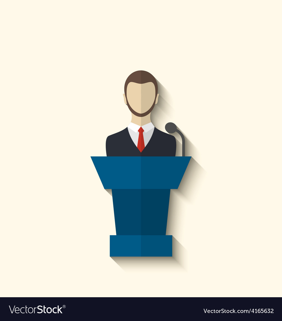 Flat icon of orator speaking from rostrum long