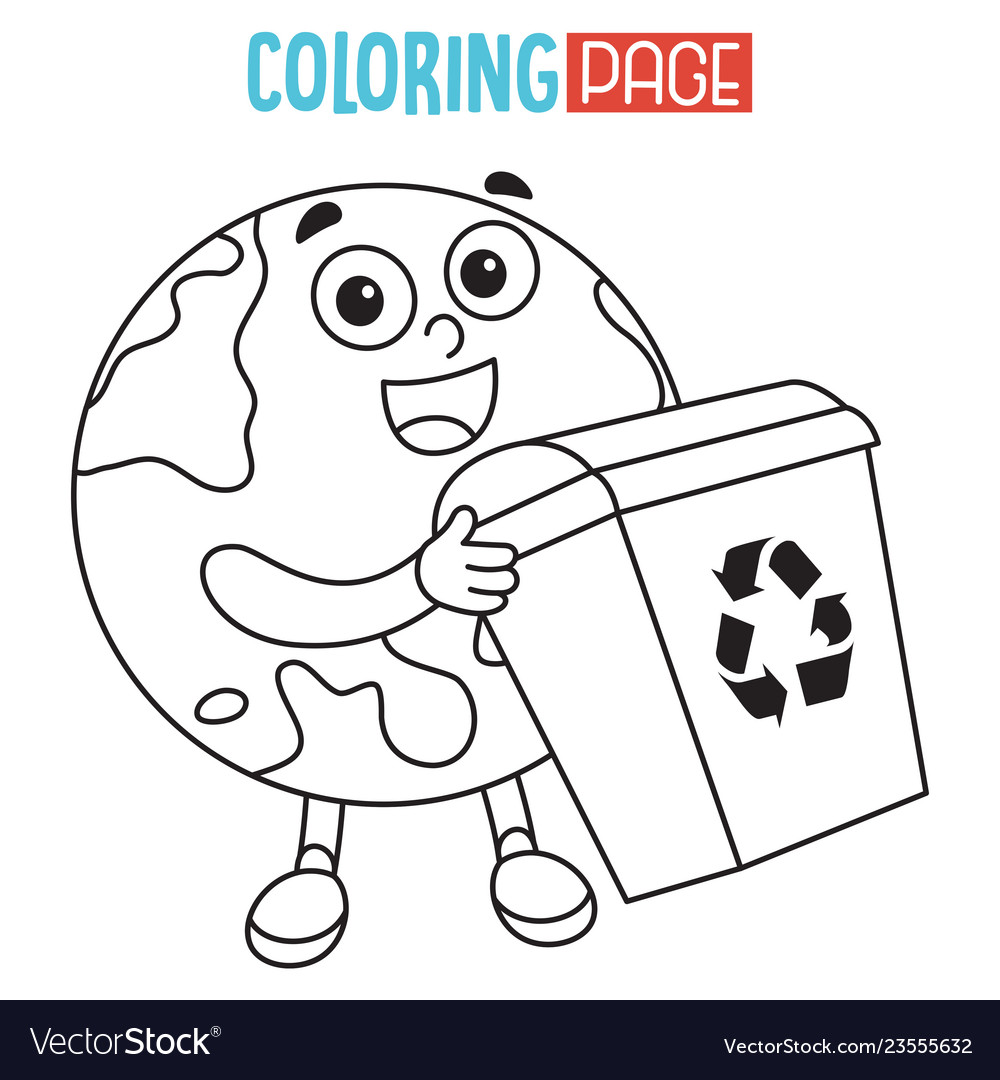Of earth coloring page Royalty Free Vector Image