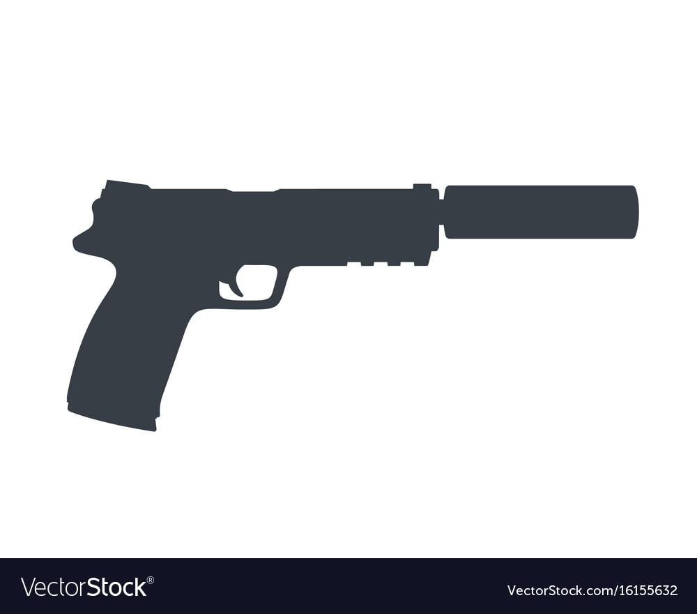 Pistol handgun with silencer gun on white