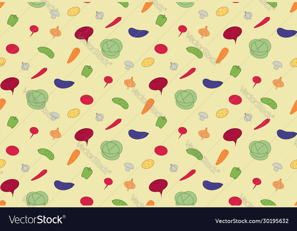 Seamless pattern vegetables vegan food