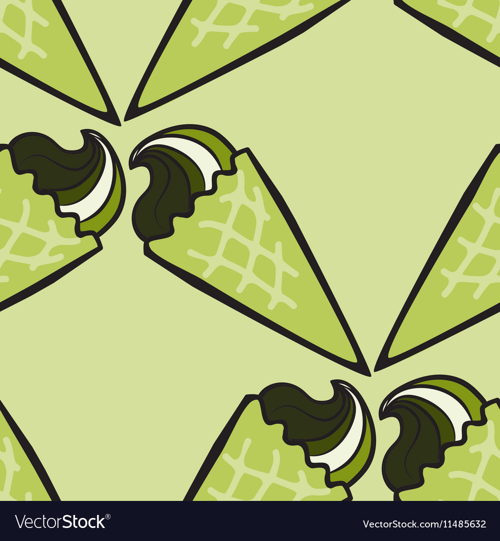 Seamless pattern with hand drawn ice cream or