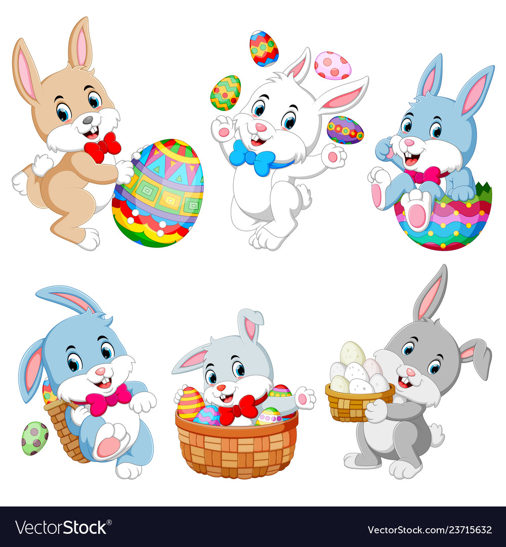 Set of cute easter rabbits with easter eggs