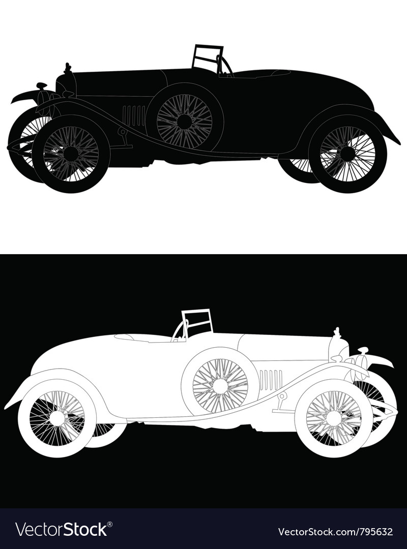 Silhouette of a retro car vector image