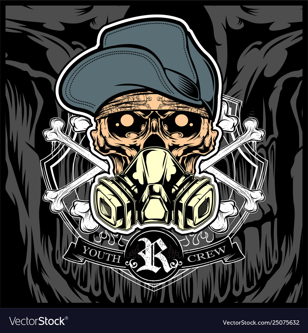 Skull wearing hat and gas mask