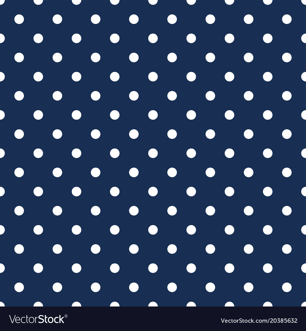 White Polka Dots On Navy Blue Background Vector Image