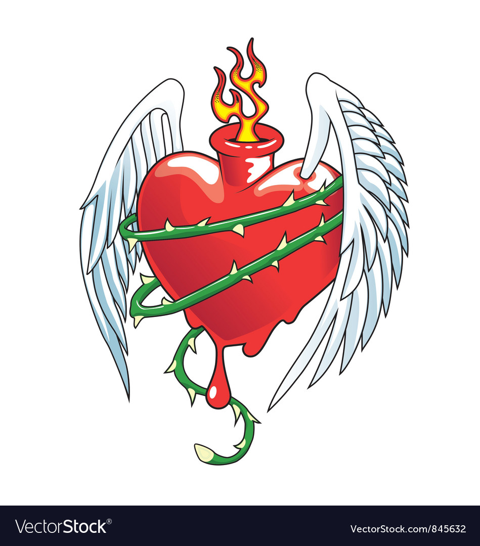 Winged heart with thorns vector image