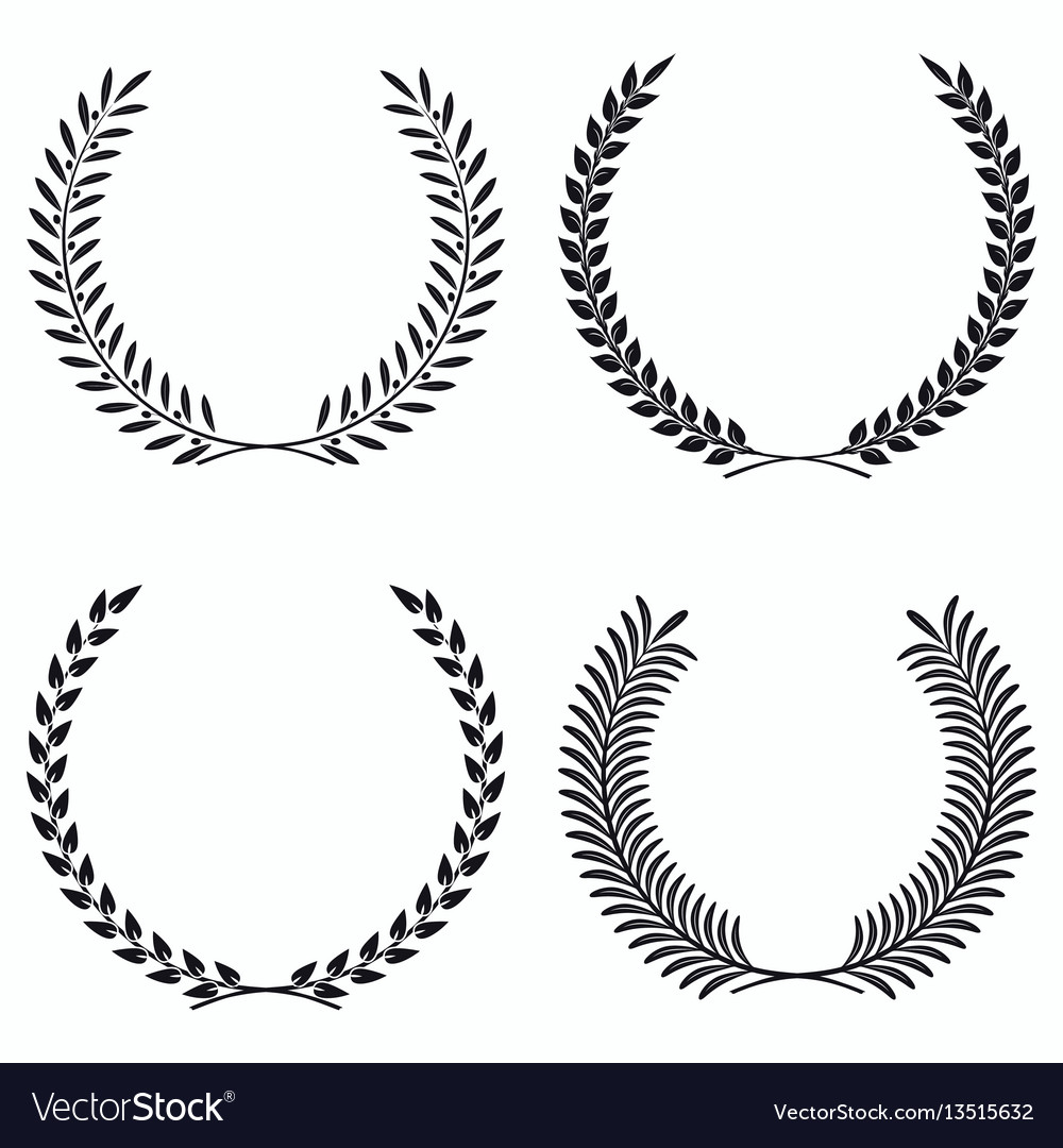 Wreath set silhouette leaves and branches round vector image