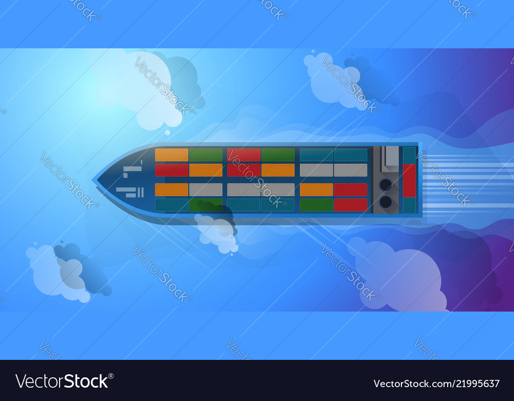 Container ship aerial top view cargo to harbor