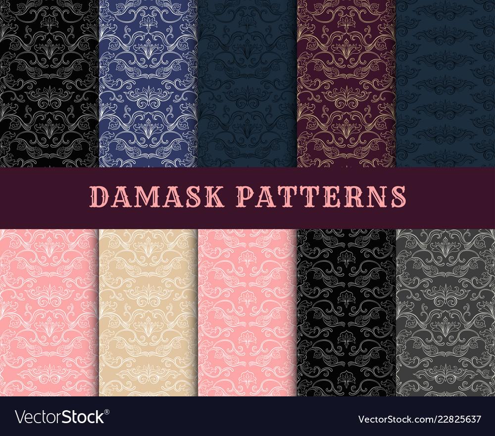 Damask vintage seamless pattern collection