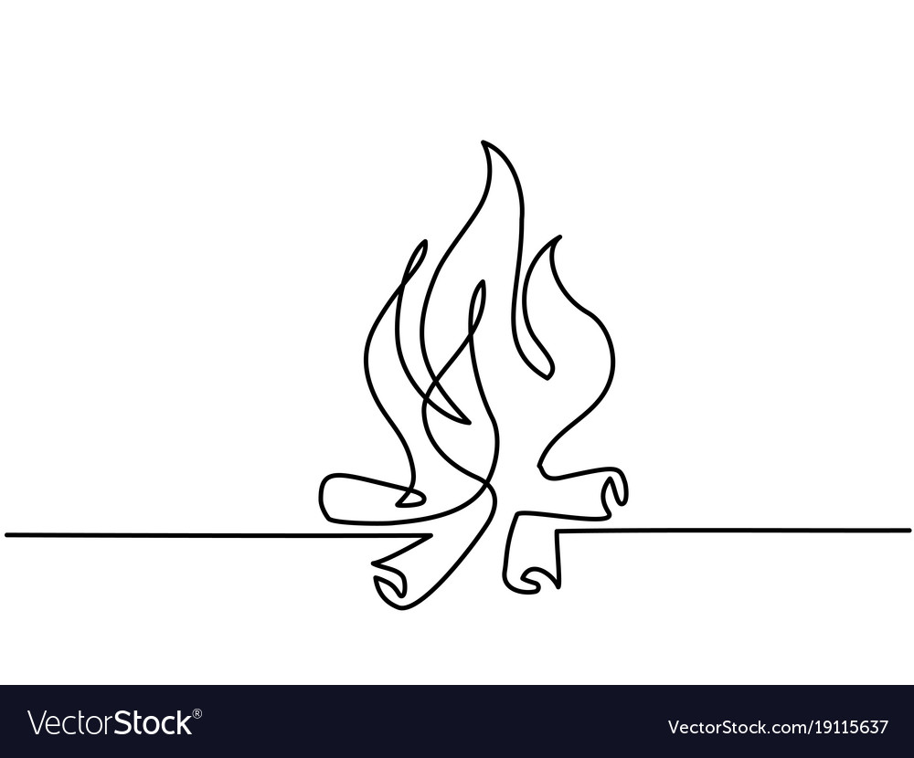 Fire outline icons on white background vector image