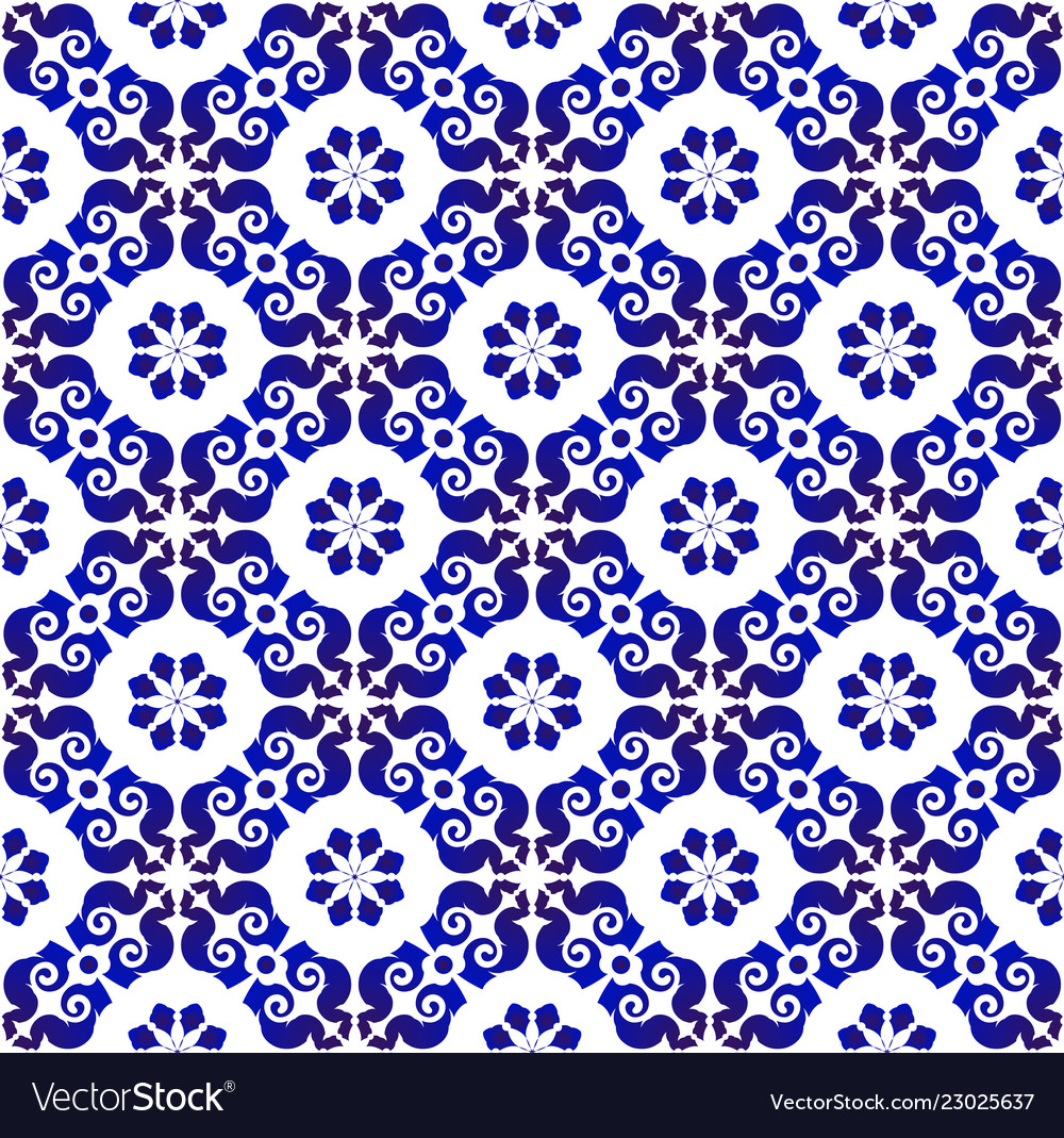 Floral seamless blue pattern