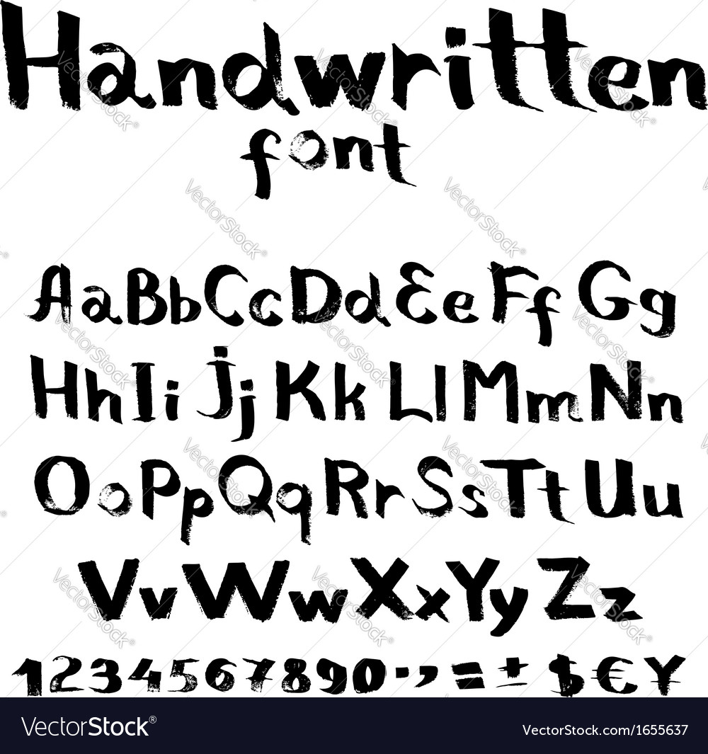 Handwritten font with a flat brush and ink